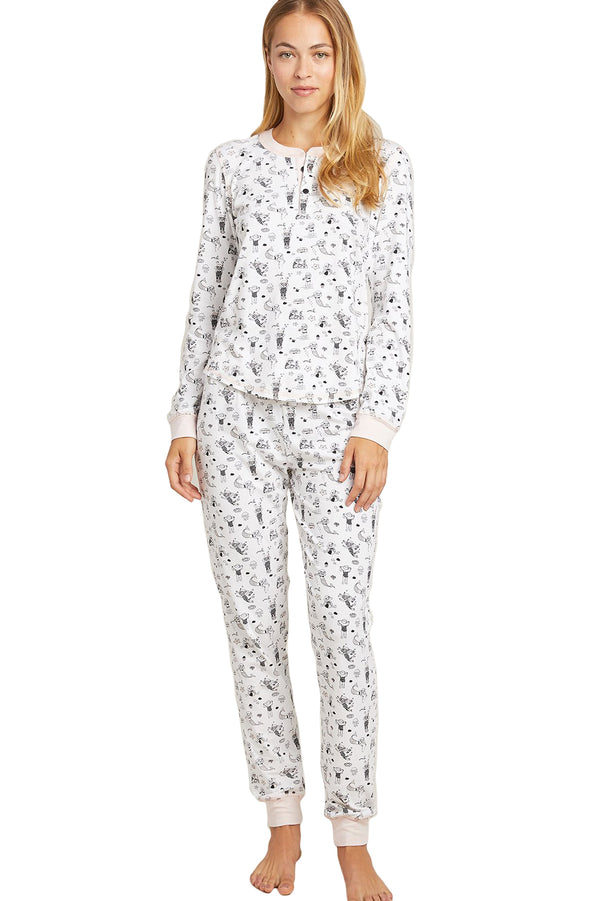 Lanie Scuba printed black and white Kaia PJ Set by Morgan Lane