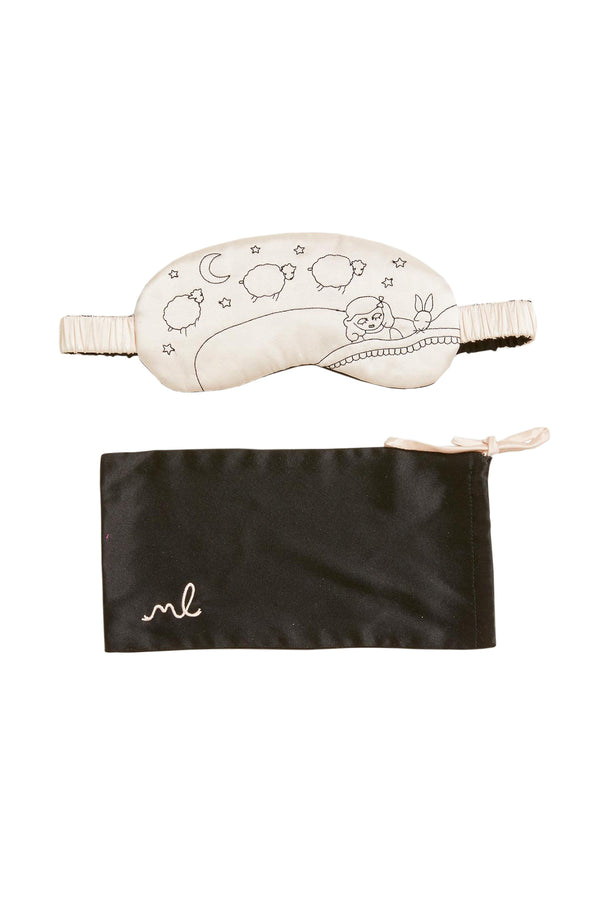 White Lanie Sleeping Mask Set with sheep design by Morgan Lane