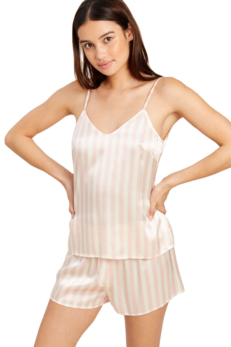 Pink and white striped Mackenzie pajama Top by Morgan Lane