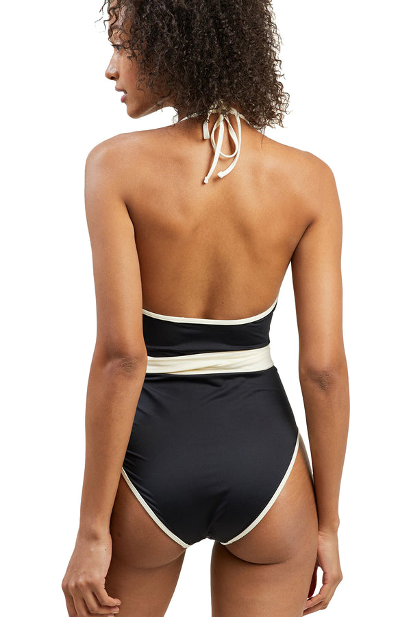 Black and white plunge neckline Tate One-Piece by Morgan Lane