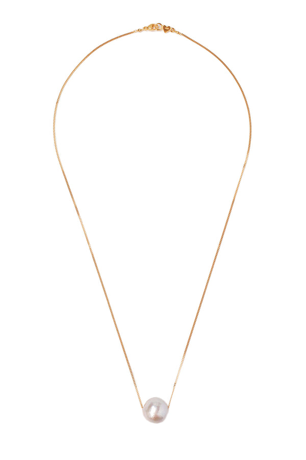 Gold Floating Grey Pearl Necklace by Chan Luu