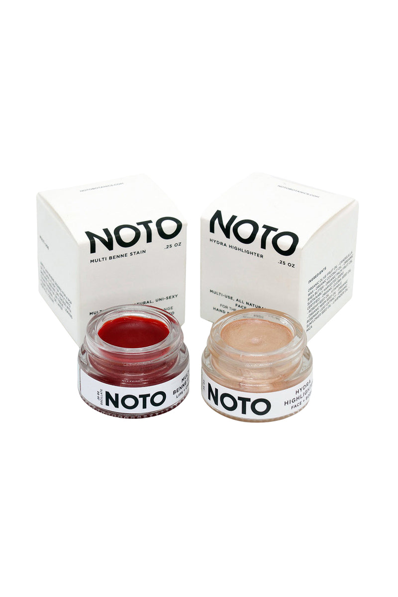 Color and Glow Duo: Oscillate & Hydra pots of pigment and highlighter by NOTO botanics