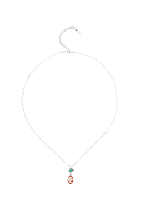 Silver and turquoise Tiered Charm Necklace by Chan Luu