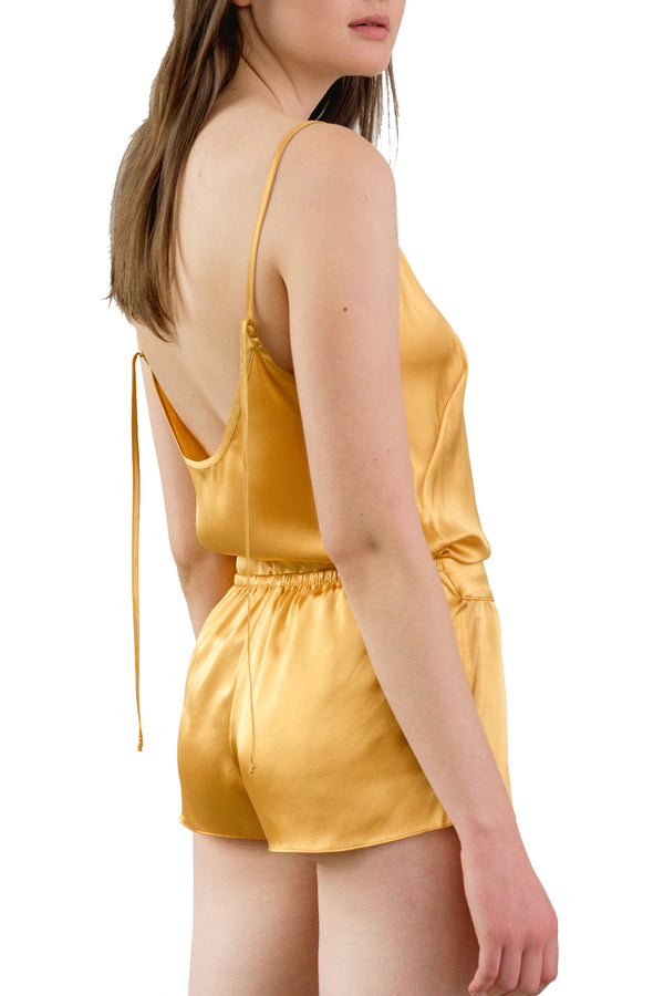 OH Organic Silk Sleep Shorts—model wearing amber and paired with KAM camisole | Kent