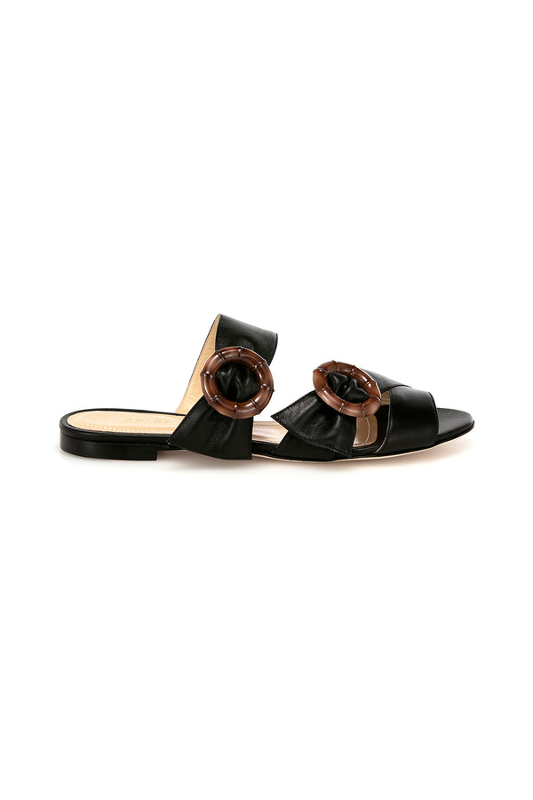 Patti flat black leather sandal by Chloe Gosselin
