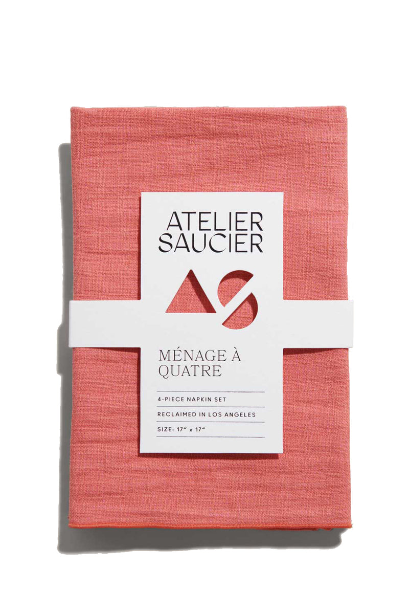 Popsicle Linen Napkins (dual-sided pink and orange) | Atelier Saucier