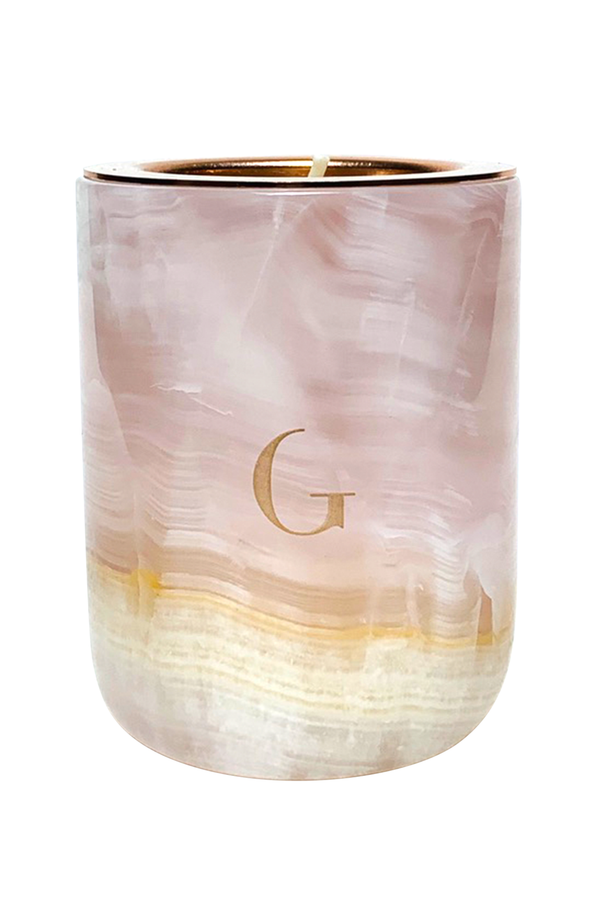 Pink Onyx Marble Luxury Candle | Gilded