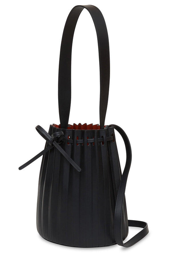 Pleated Bucket Bag in Black with Flamma | Mansur Gavriel