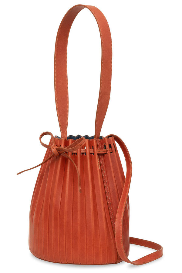 Pleated Bucket Bag in Brandy with Avion | Mansur Gavriel
