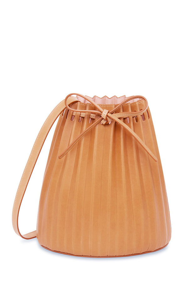 Pleated Bucket Bag in Cammello with Rosa | Mansur Gavriel
