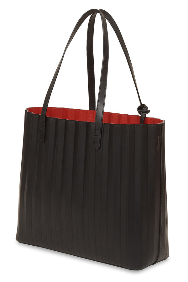 Pleated Tote in Black with Flamma | Mansur Gavriel