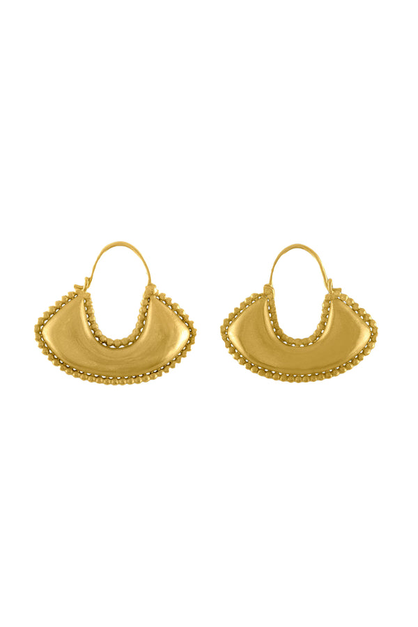 Granulated Boat-Shaped gold Hoop Earrings by Prounis Jewelry