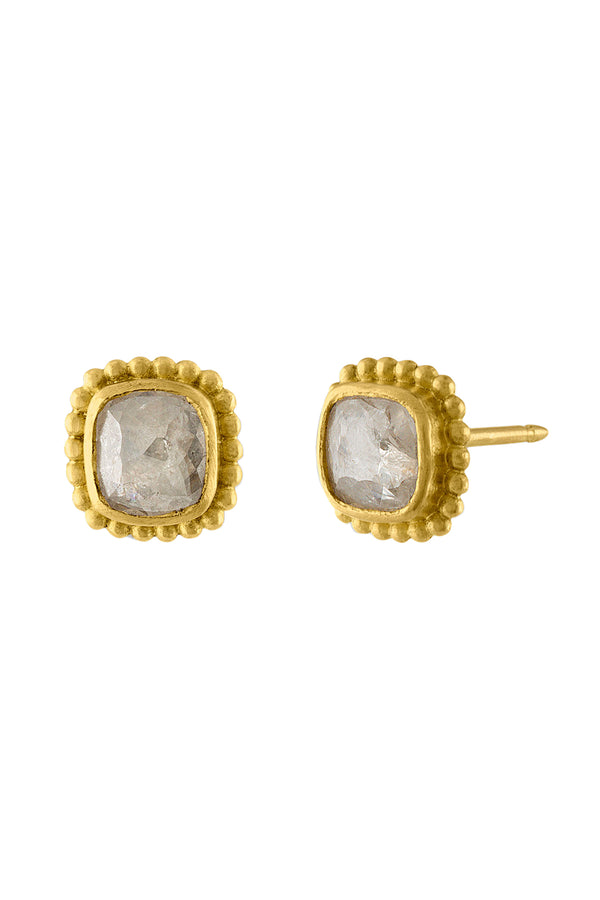 Granulated Diamond gold Stud Earrings by Prounis Jewelry
