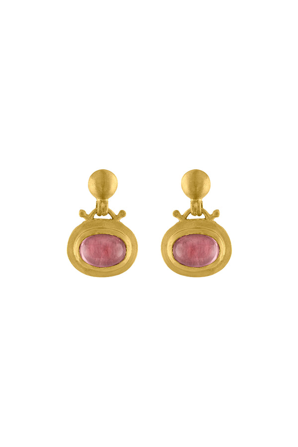 Pink Tourmaline Bell Earrings by Prounis Jewelry