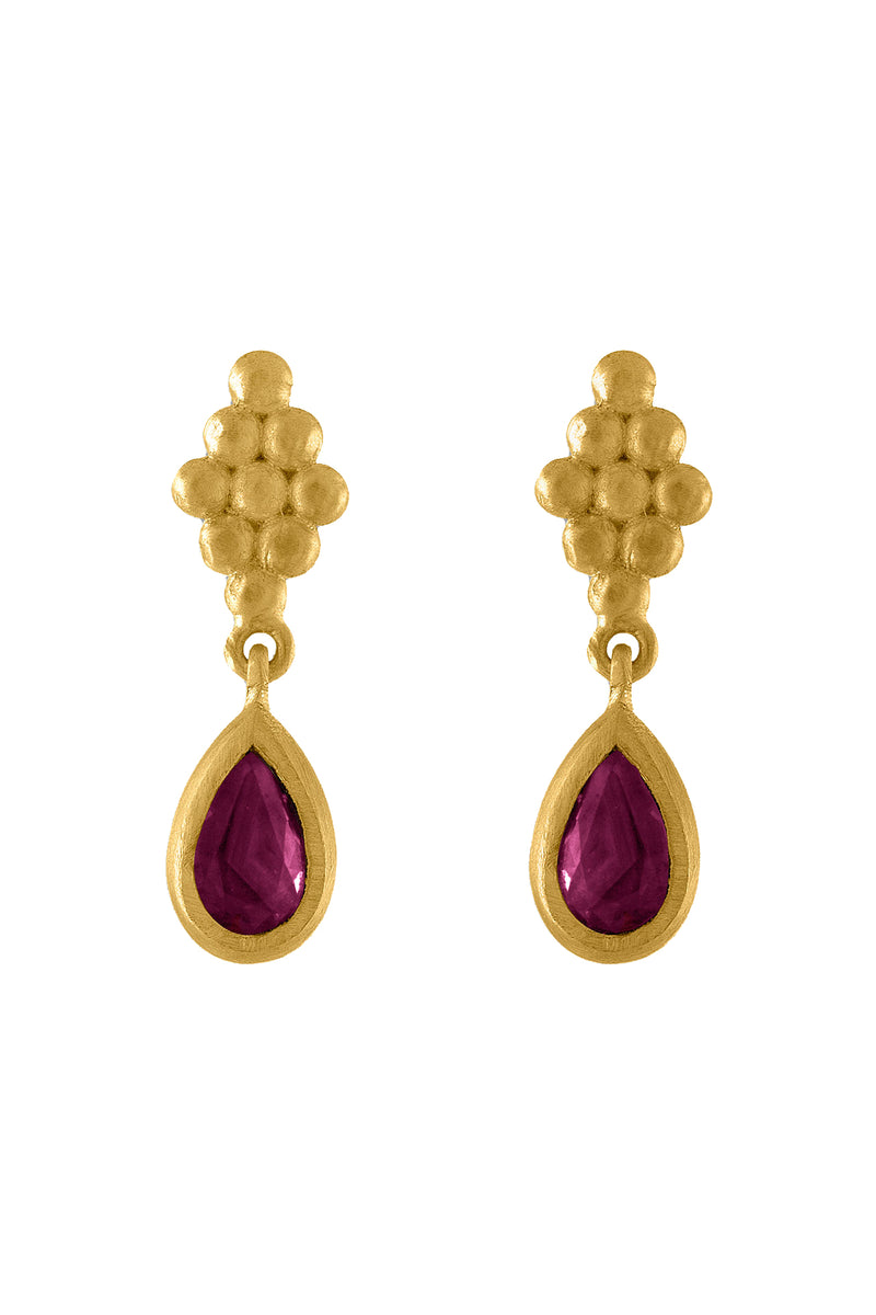 Small Ruby teardrop Nona gold Earrings by Prounis Jewelry