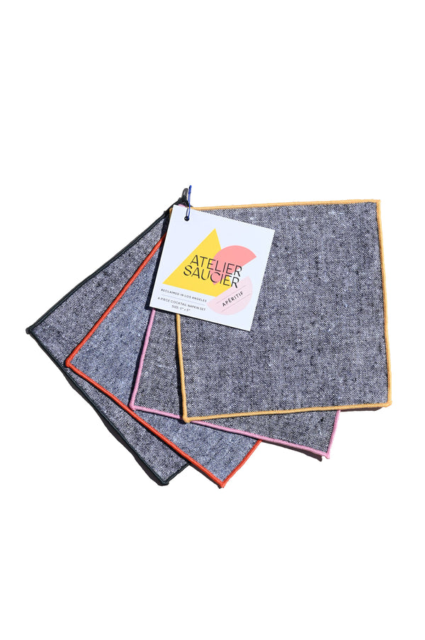 Rainbow Chambray Cocktail Napkins