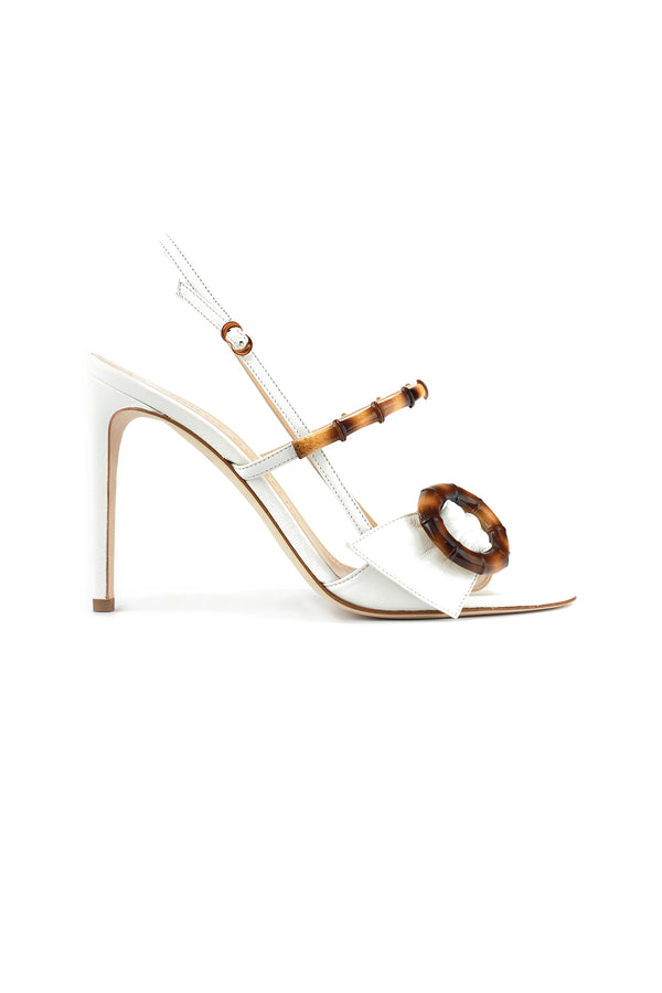 White leather and bamboo Celeste heel by Chloe Gosselin