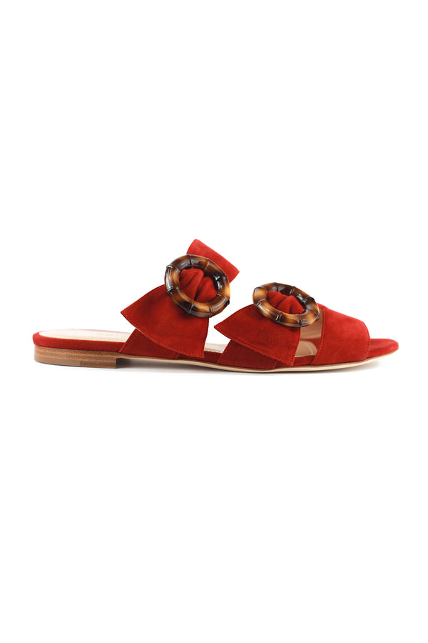 Patti flat red suede sandal by Chloe Gosselin