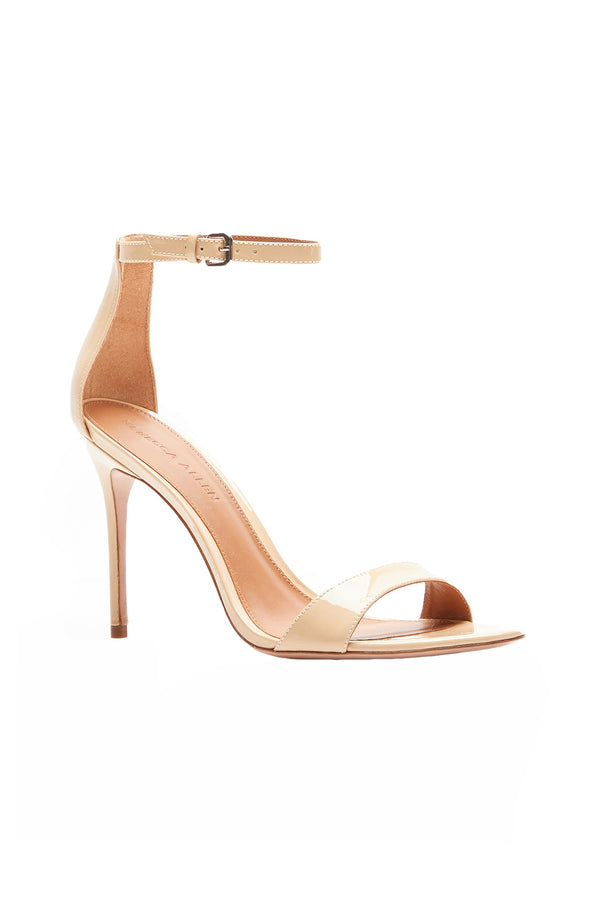 Two Strap Nude V Elevated Strappy Stiletto by Rebecca Allen