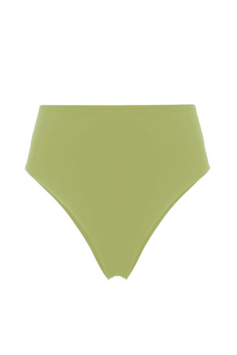 Anna Hot Chartreuse High Waisted High Rise Cheeky Bikini Briefs by Rochelle Sara