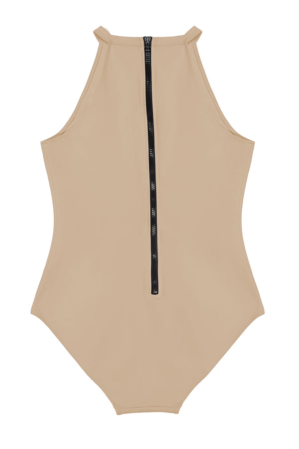 River Nude High Neck Surf Zip One Piece by Rochelle Sara