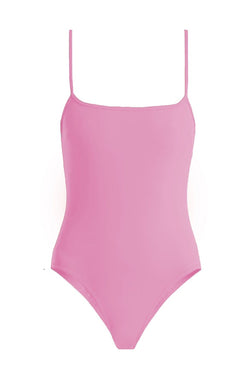 Trevor Hot Pink Square Neck One-Piece by Rochelle Sara