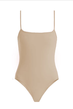 Trevor Nude Square Neck One-Piece by Rochelle Sara