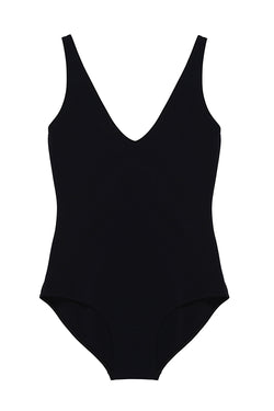 Zeno Black Plunging Neckline One-Piece by Rochelle Sara