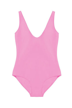 Zeno Hot Pink Plunging Neckline One-Piece by Rochelle Sara