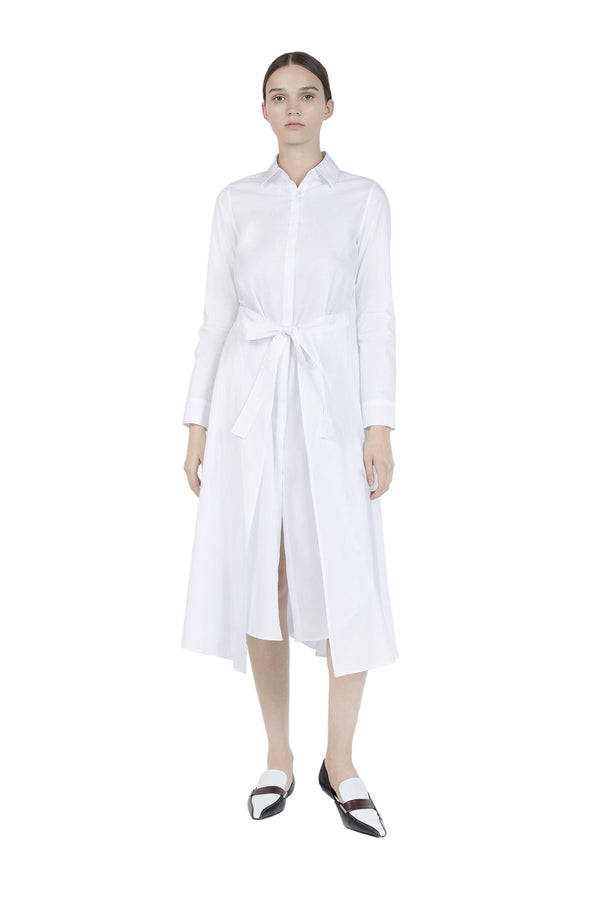 Apron Wrap Shirt Dress in White by Rosetta Getty