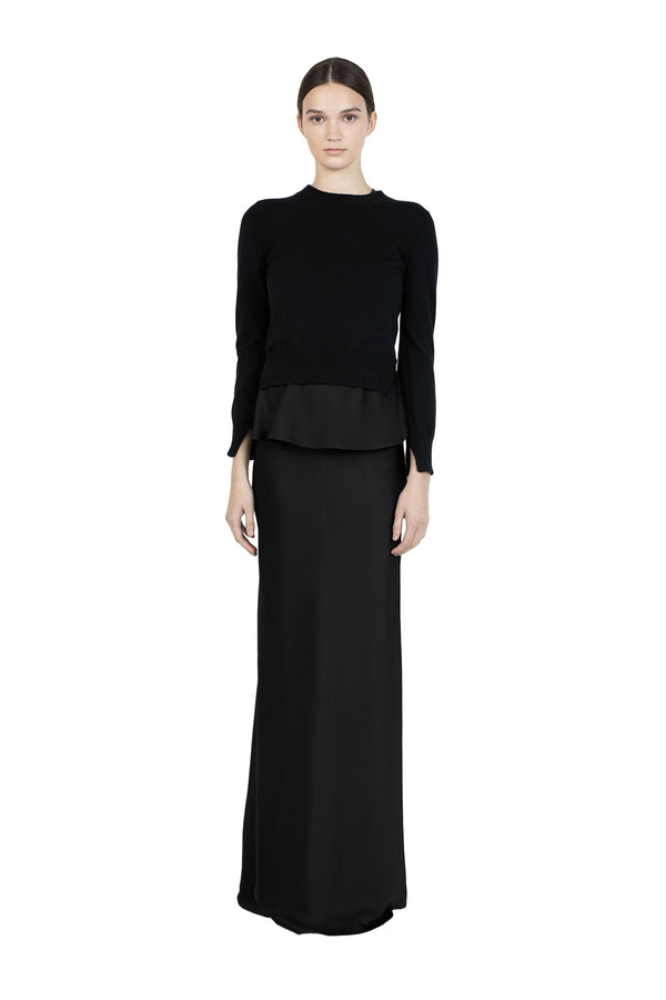 Bias Maxi Skirt in Black by Rosetta Getty