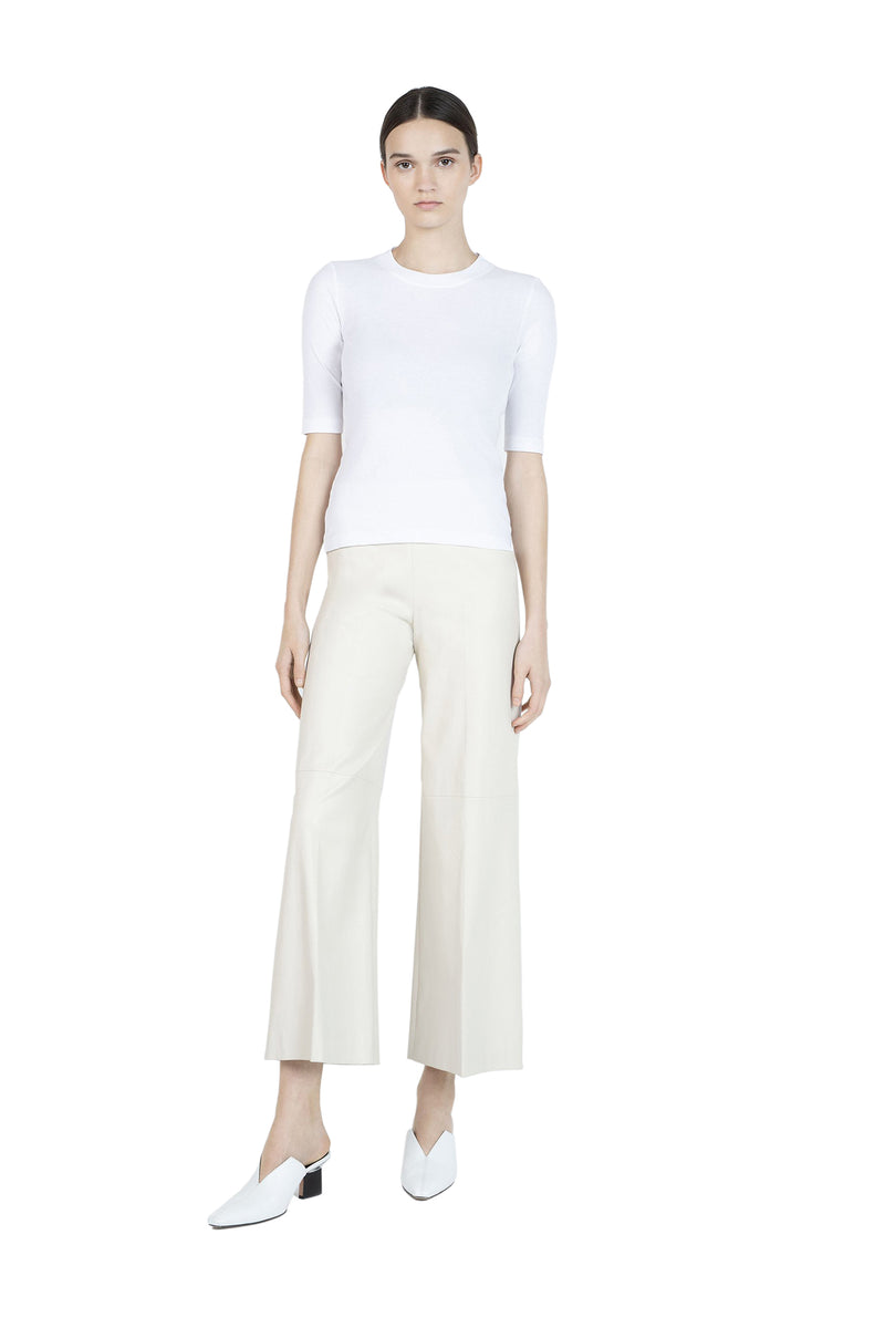 Cropped Sleeve T-Shirt in White by Rosetta Getty