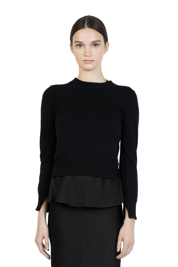 Cropped Slit Pullover in Black by Rosetta Getty