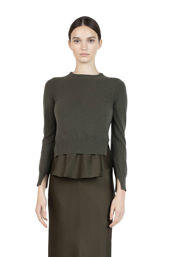 Cropped Slit Pullover in Loden by Rosetta Getty
