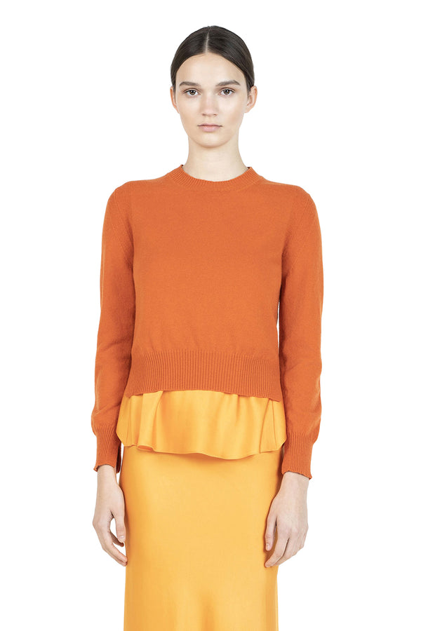 Cropped Slit Pullover in Orange by Rosetta Getty