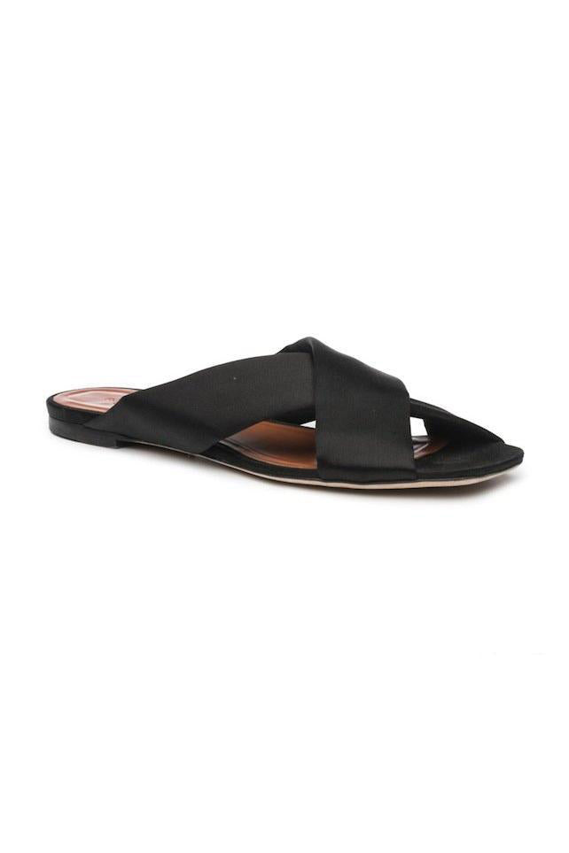 Flat Crossover Sandal in Black by Rosetta Getty