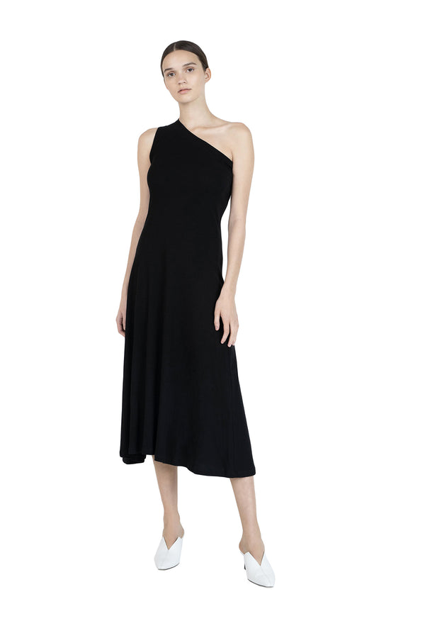 One Shoulder Tank Dress in Black by Rosetta Getty