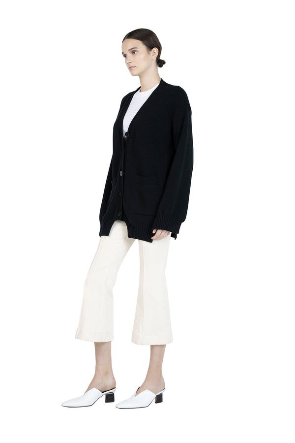 Paneled Cardigan in Black by Rosetta Getty