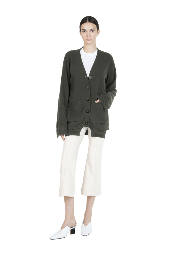 Paneled Cardigan in Loden by Rosetta Getty