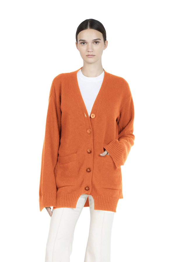 Paneled Cardigan in Orange by Rosetta Getty