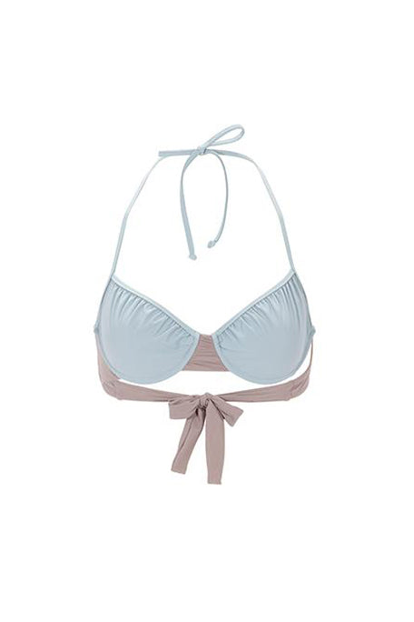 Halfter Bra in Powder Blue and Pewter by Roxana Salehoun
