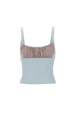 Shirr Tankini Top in Powder Blue by Roxana Salehoun