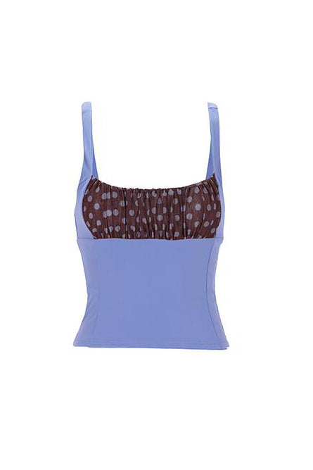 Shirr Tankini Top in Periwinkle by Roxana Salehoun