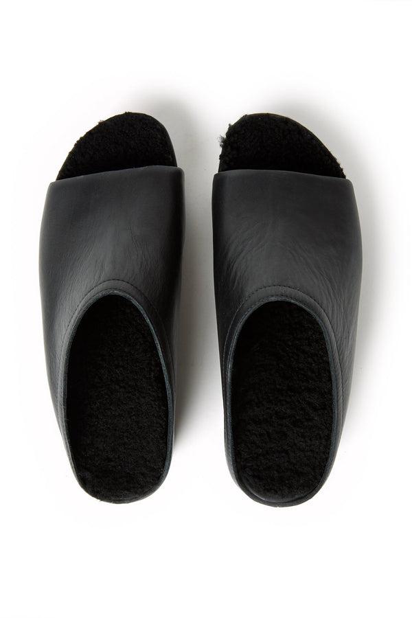 Open Toe Shearling Clogs