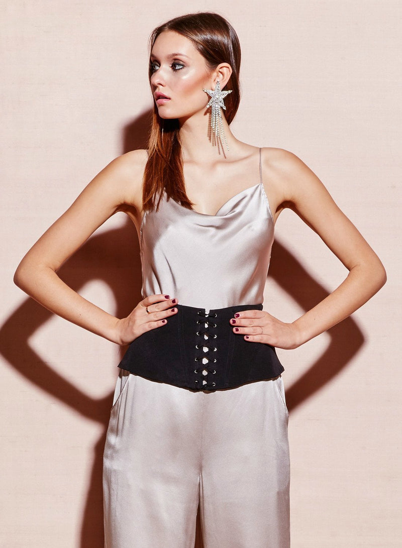 Black Lacing Corset Belt by Fleur du Mal