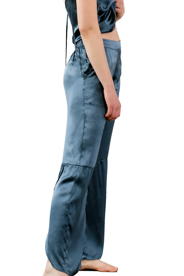 SMASH Organic Silk Lounge Pants, model wearing electric blue paired with KAM camisole | Kent