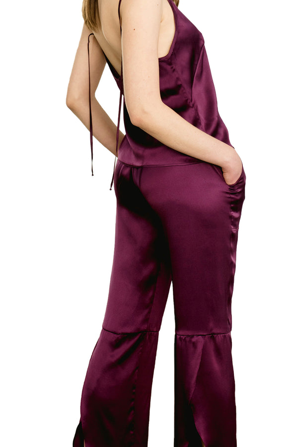 SMASH Organic Silk Lounge Pants, model wearing bordeaux paired with KAM camisole | Kent