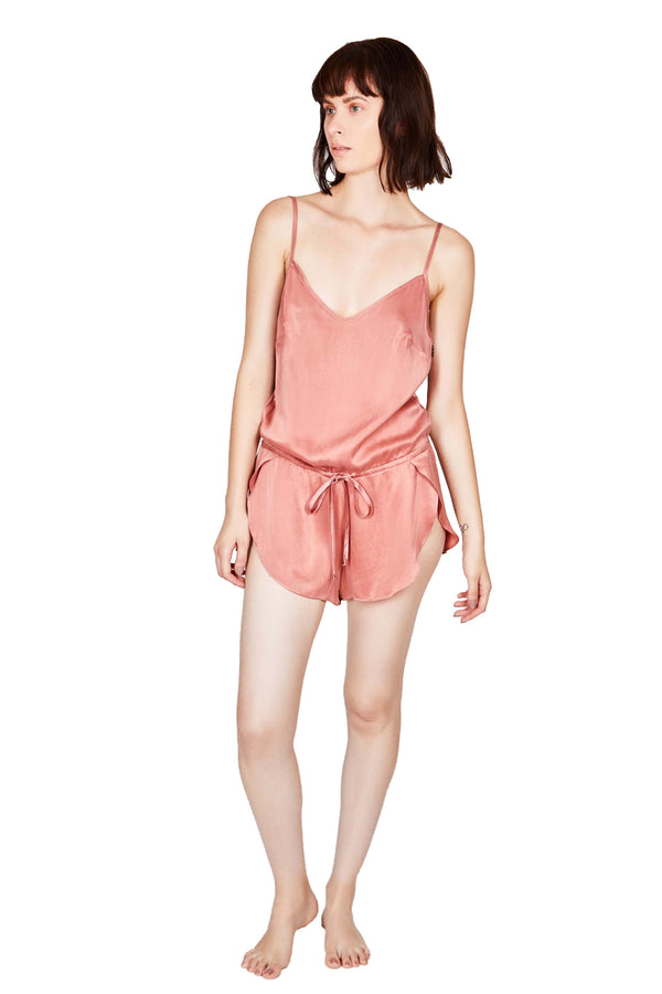 SPLASH Organic Silk Romper, on model in deep rose | Kent