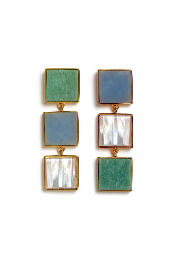 Green blue and mother of pearl Treasure Island Earrings by Lizzie Fortunato