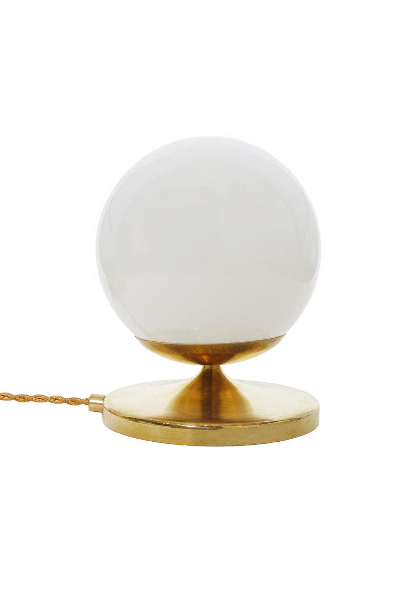 White Shorty Brass Globe Lamp by Michele Varian